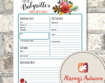 Printable Babysitter Information Sheet - Four Seasons Collection