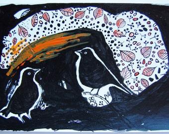 two blackbirds, blackbirds, structured art, textures, mixed techinque birds
