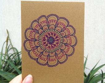 Purple Mandala Card // Wedding //Birthday // 105mm x 150mm