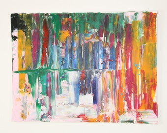 Abstract contemporary acrylic painting on streched canvas