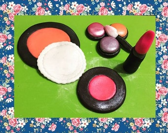 Edible Makeup Cake Toppers Blush Eye Shadows Lipstick and compact with Puff and eye shadow stick