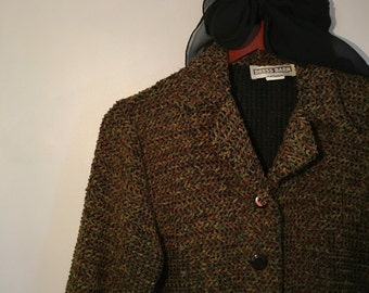 Vintage Earth Tone Knit Blazer // Size S