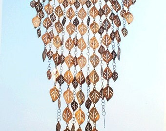 Pure Copper Cascading Leaves Wind Chime