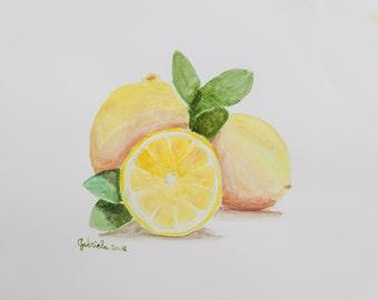 Watercolor print by me made, lemons