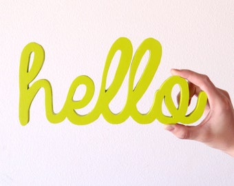hello/ wood cut out/ wood hello sign/ home wall decor