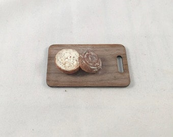 Miniature Slices Bread on Cutting Board 1:12 scale