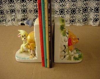 Walt Disney Productions Winnie The Pooh and Rabbit  Ceramic Book Ends