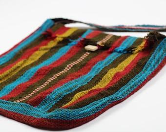 Boho Crossbody Bag - Organic Andean Cotton - Handwoven in Cusco