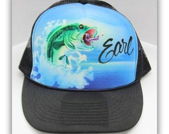Airbrush Fishing Trucker Hat, Airbrush Fishing Hat, Airbrush Fish Trucker Hat, Airbrush Trucker Hat, Hunter, Hunting, Fishing, Fisherman
