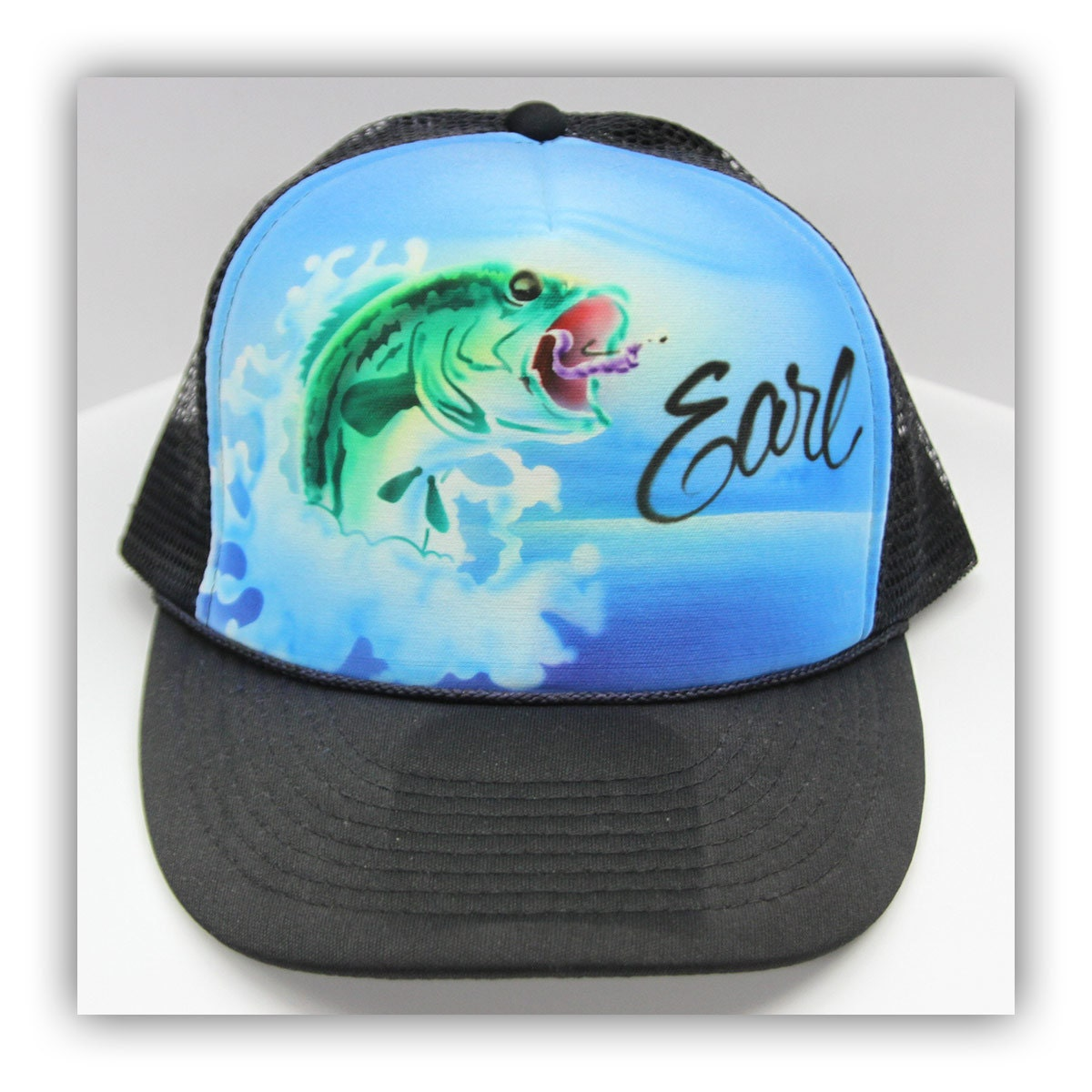 Airbrush fishing trucker hat airbrush fishing hat airbrush for Fishing trucker hats