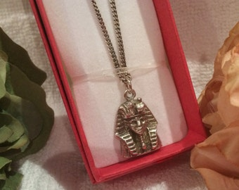 Sensational Vintage SOLID Sterling Silver Pendant of the Pharaoh TUTANKHAMUM-Solid Sterling Silver 60cm Chain (24 inches)-Weighs 17.43grams
