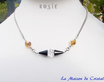 Black Minimalist Crystal Necklace with surgical steel chain