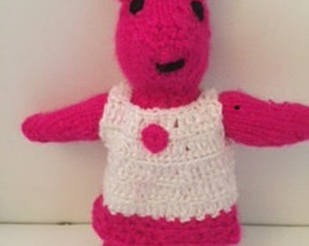 Pink Knitted Teddy in Removable Dress