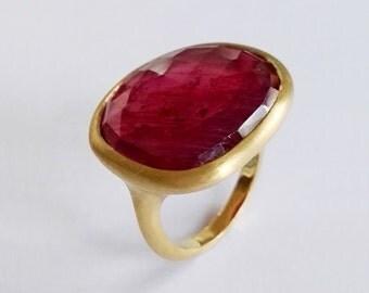 Sapphire Gold Ring - Red Rose Cut Sapphire - 18k Yellow Gold Ring - Dalben Design