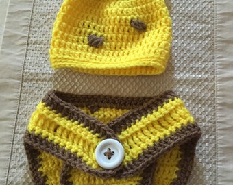 Crochet Baby Hat and Diaper cover - Giraffe
