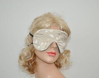 Beige Sleeping eye mask, with embroidery, Women Sleeping mask, Eye mask, Travel mask
