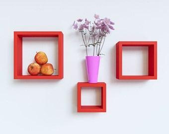 DecorNation Floating Wall Shelf Rack Set Of 3 Nesting Square Wall Shelves - Red