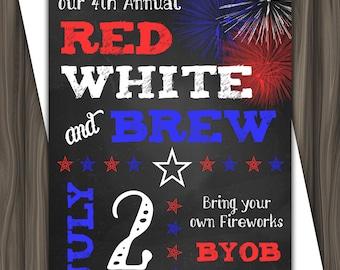 Red, White & Brew Invitation - July 4th Invitation 5x7 - Digital Download