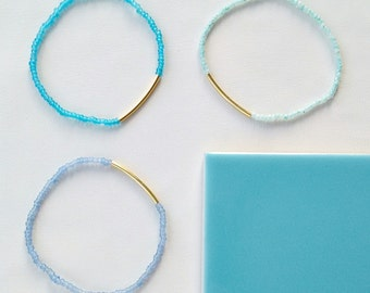 BLUE STACKED BRACLETS / 9 /