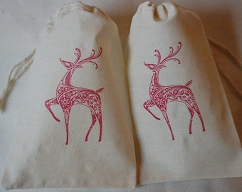 10 Christmas Fancy Red Reindeer muslin cotton favor bags 4x6 inch - you choose ink color and bag size - goodie bag, party bag, gift bag