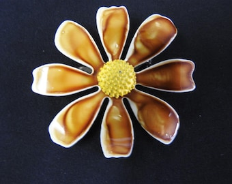 stunning rare brown and enamel flower brooch