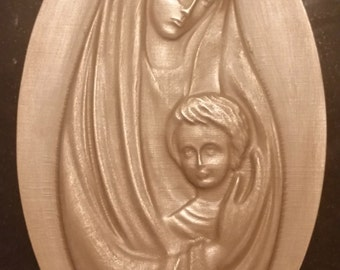 Bronze Plaque of Blessed Mary and Baby Jesus with Border