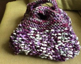 Hand knitted handbag