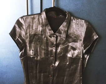 Vintage Metallic Silver Button Up (Cropped)