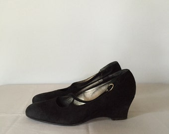 black suede wedge shoes | criss cross straps wedge heels | 7.5