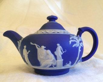Antique WedgwoodJasperwareCobalt Blue Batchelor's Teapot
