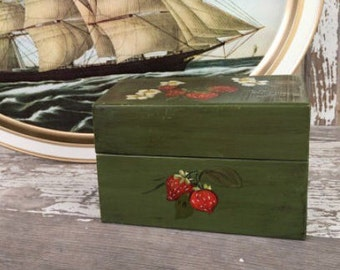 Vintage Strawberry Painted Metal Recipe Box