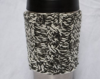 Cabled Two Colored Travel Mug Cozy