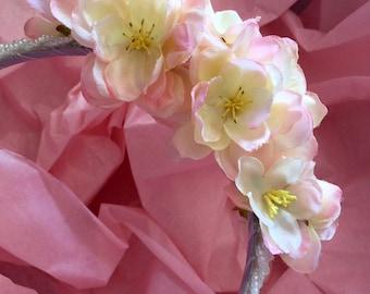 Pink Silk Flowers on Pale Pink Beaded Headband