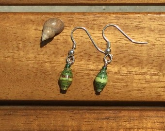 Sea-glass Green Beach-Inspired Handmade Ugandan Jewelry Earrings