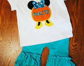 Embroidered Minnie Mouse pumpkin with monogram or name