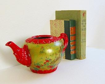 Decorative Tea Pot, Japanese Decor, Asian Decor, Golden Green,  Oriental Decor, Vintage Planter, Cherry Blossoms