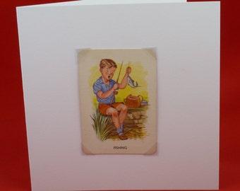 Vintage Old Maid greetings card