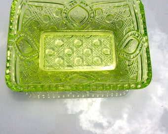 Mosser Glass Quilted Relish Dish