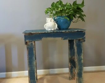 rustic reclaimed wood, weathered blue side table, end table, entryway table, sofa table, outdoor table