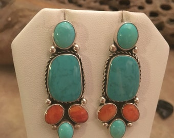 Vintage Navajo Sterling Silver, Turquoise & Spiny Oyster Dangle Earrings