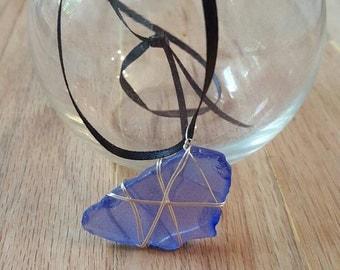 Blue Wire Wrapped Sea Glass Pendant