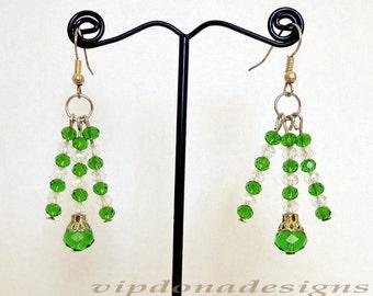 Splendid Swarovski Green Round Crystals Handmade Earrings