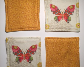 Pink Butterfly Reversible Coaster - Set of 4