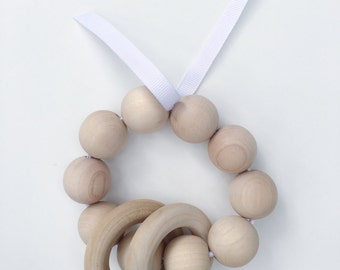 Wooden Teether in WHITE!