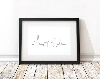 Chicago Line Print - Printable - Minimalist, Black and White, Contemporary