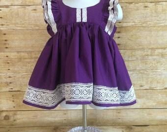 Purple and lace Clara dress - flutter sleeve dress - lace dress - toddler dress - baby dress