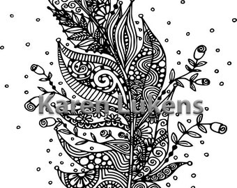 Blooming Feather #1, 1 Adult Coloring Book Page, Printable Instant Download