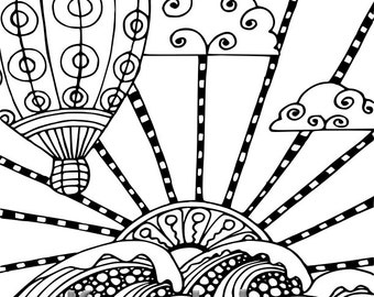 Balloon Voyage, 1 Adult Coloring Book Page, Printable Instant Download