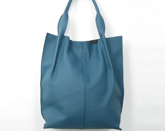 Leather Handbag, Shopperbag - 100% Leather Bag, Genuine Leather Bag, handmade in Poland, A4 size, COLOR: Blue