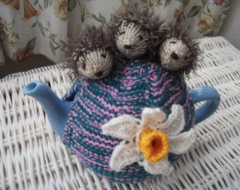 Handmade Knitted Hedgehogs and Daffodil Tea cosy/cozy